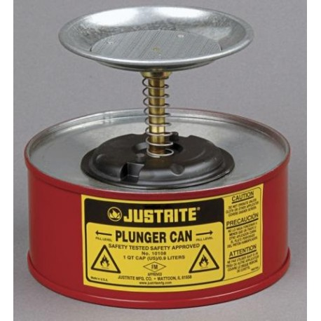 1 Litre Plunger Can for dispensing flammable liquids - Justrite 10108